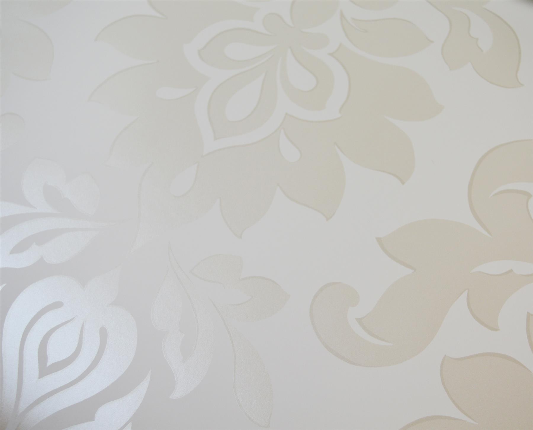 White Laura Ashley Hampstead Floral Wallpaper Pearlescent Cream Damask