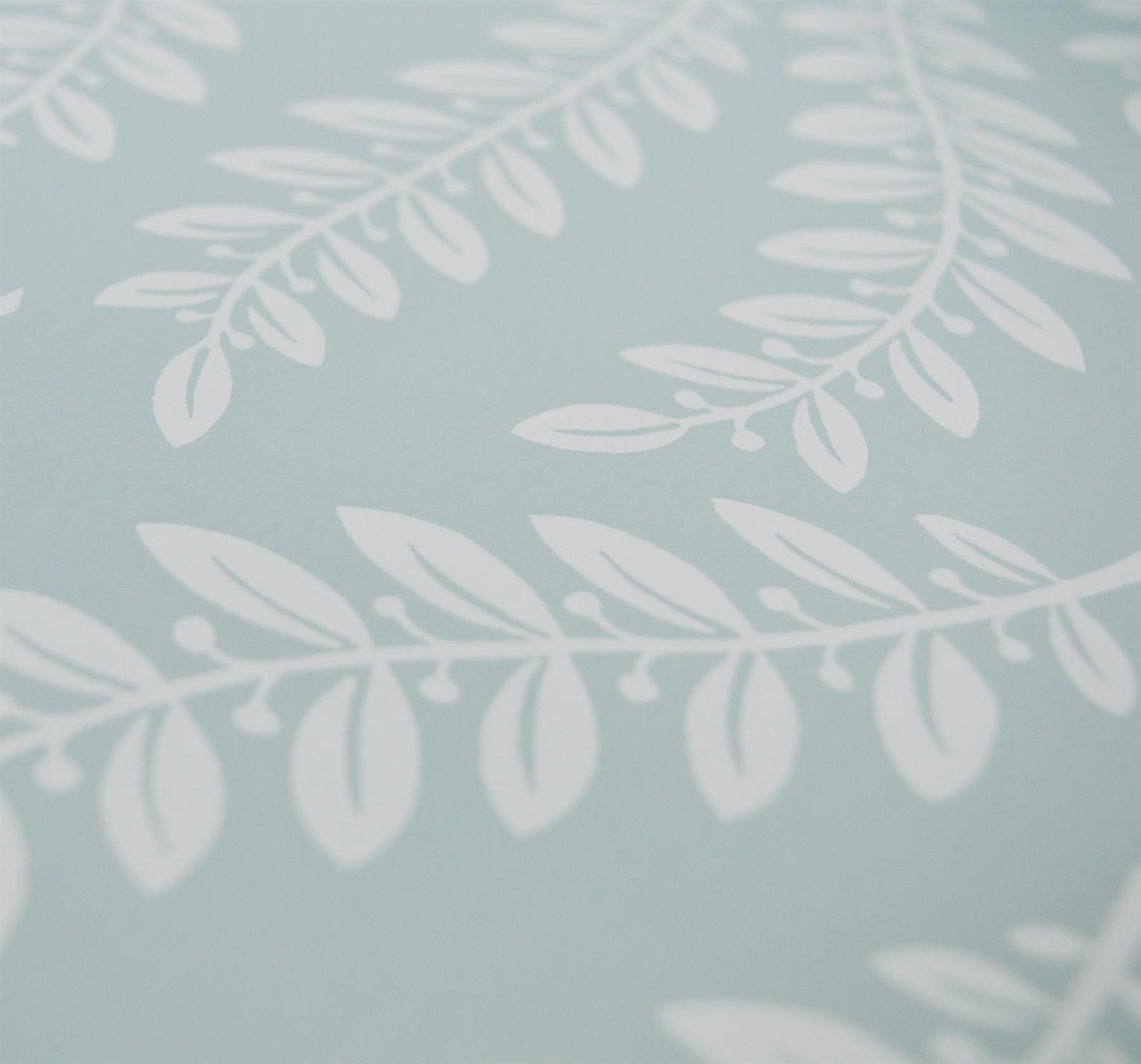 3//5 Rouleaux Fenton feuilles Laura Ashley Wallpaper Duck Egg Bleu Blanc