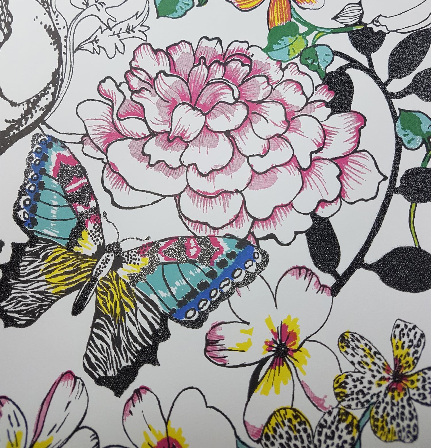 PAPILLONS FEUILLE FLORAL PAILLETÉ PAPIER PEINT Noir Blanc Rose Bleu Vert pâte mur