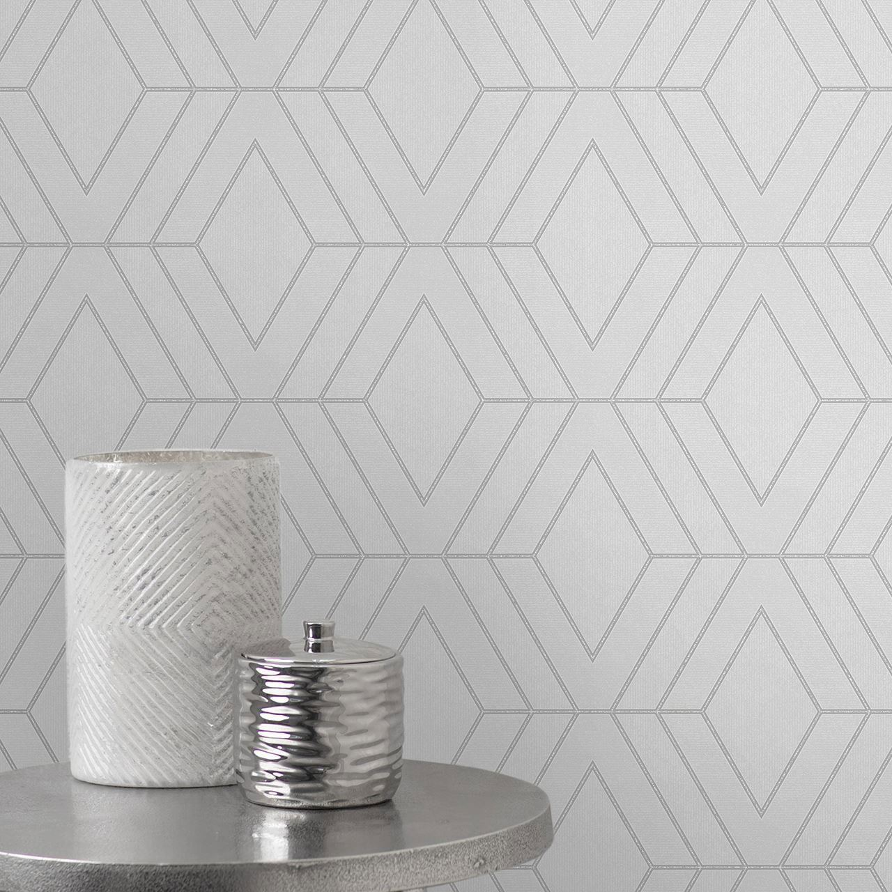 Pulse Diamond Geometric Wallpaper Textured Glitter Metallic Luxury Fine Decor