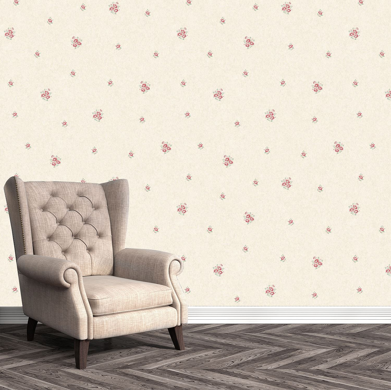 Pink Flower Floral Wallpaper Metallic Mica Shimmer Country Holden Eden Hall