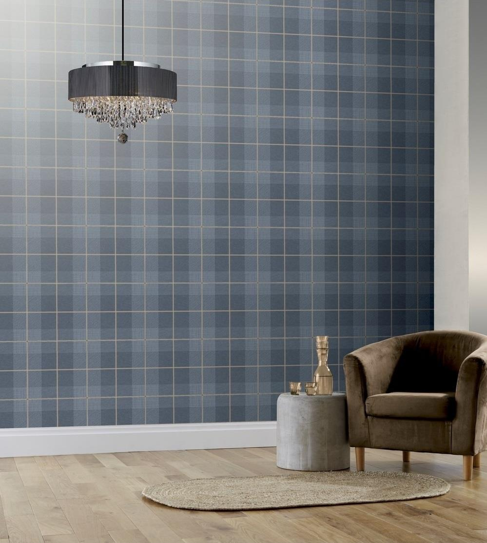 Taupe Blue Grey Charcoal Country Tartan Wallpaper Checked Vinyl Paste Wall