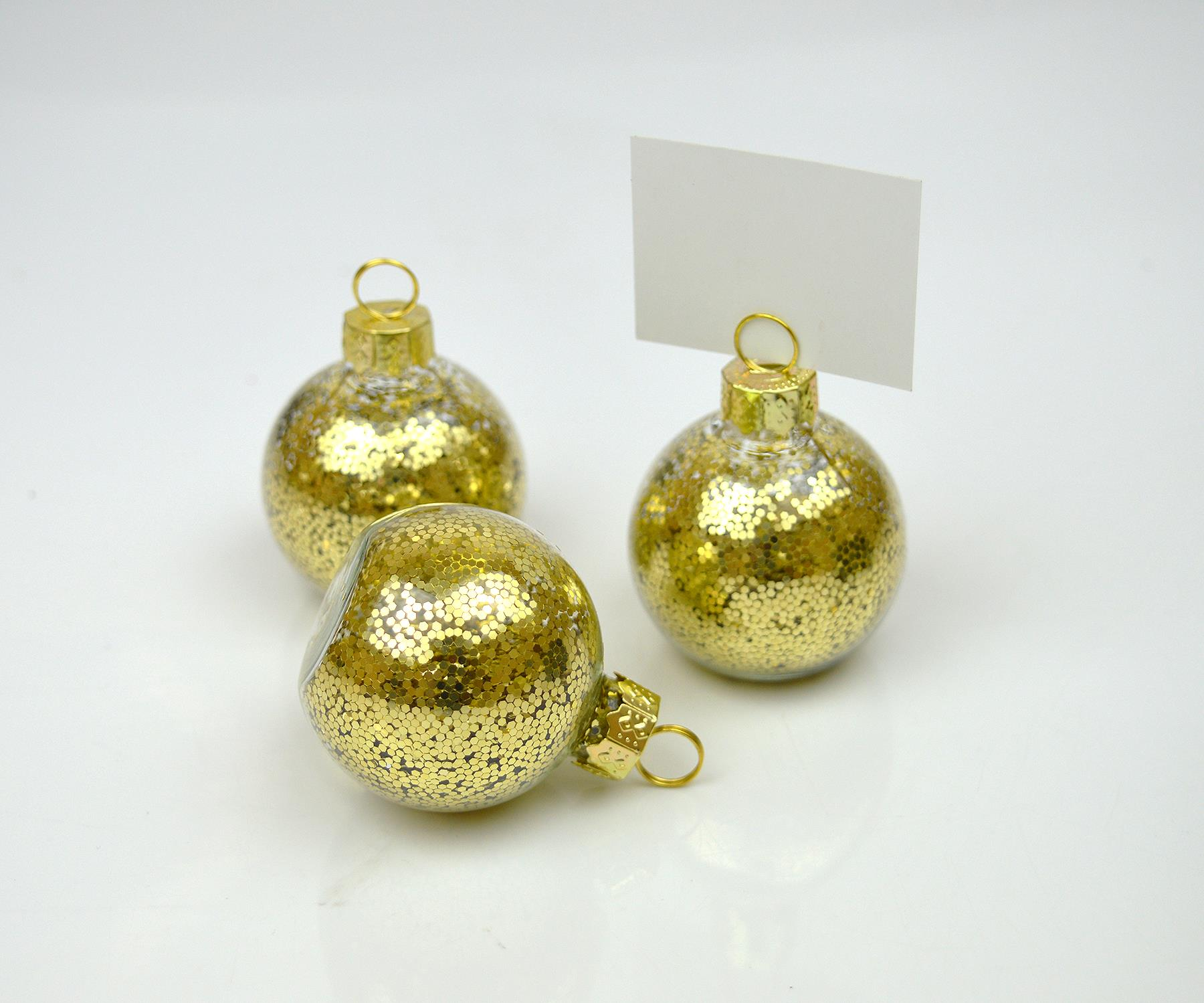 Place Card Holders Christmas Wedding Table Bauble Glitter Clip Red Gold Silver