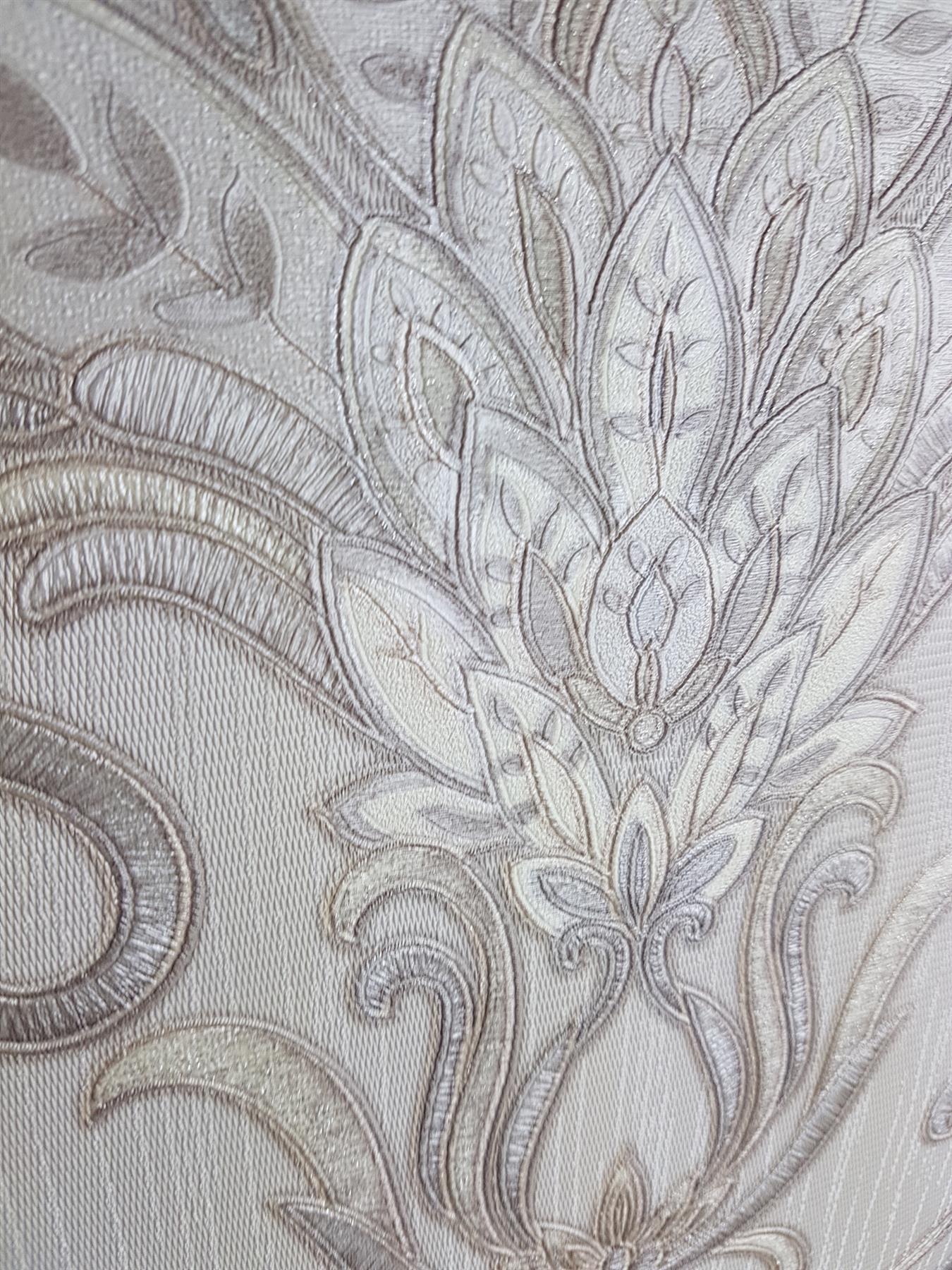 Isabella Damassé Ivoire Or Argent Papier Peint Floral paillettes Italien Vinyle DEBONA