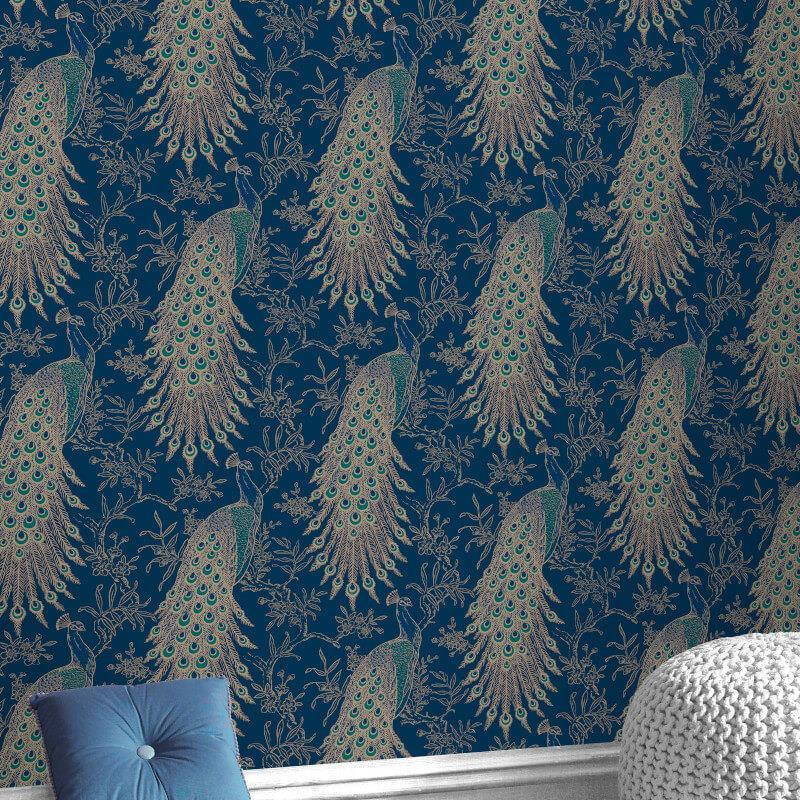Rasch Peacock Vintage Birds Navy Blue//Gold Metallic Wallpaper 215700