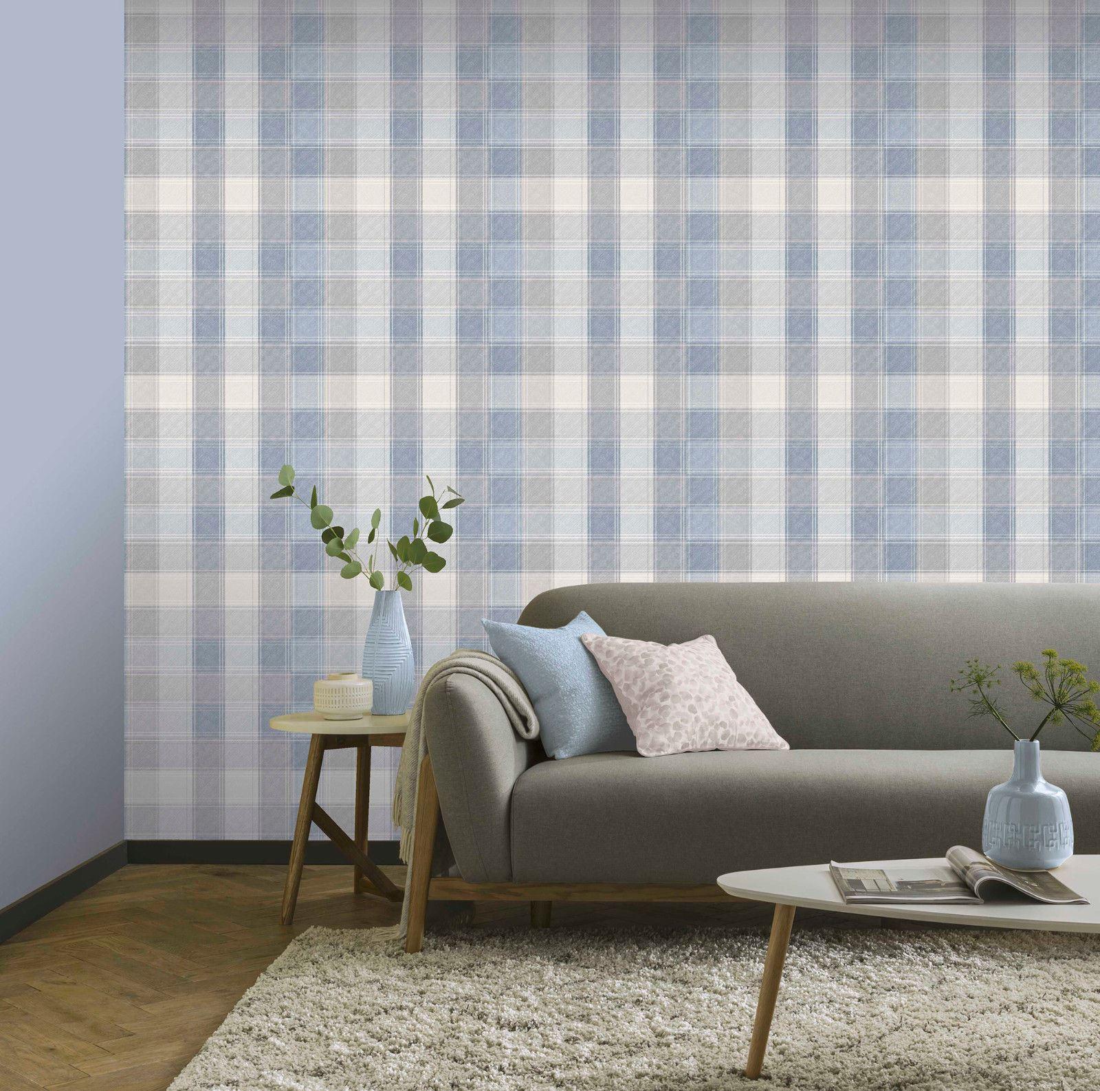 Arthouse Country Check Tartan Pattern 10m Wallpaper In Denim 902808