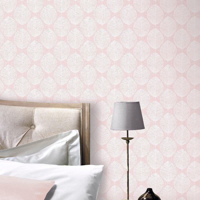 Arthouse Scandi Leaf Motif Geometric  Stripes Leaf Pattern Pink Wallpaper 908200