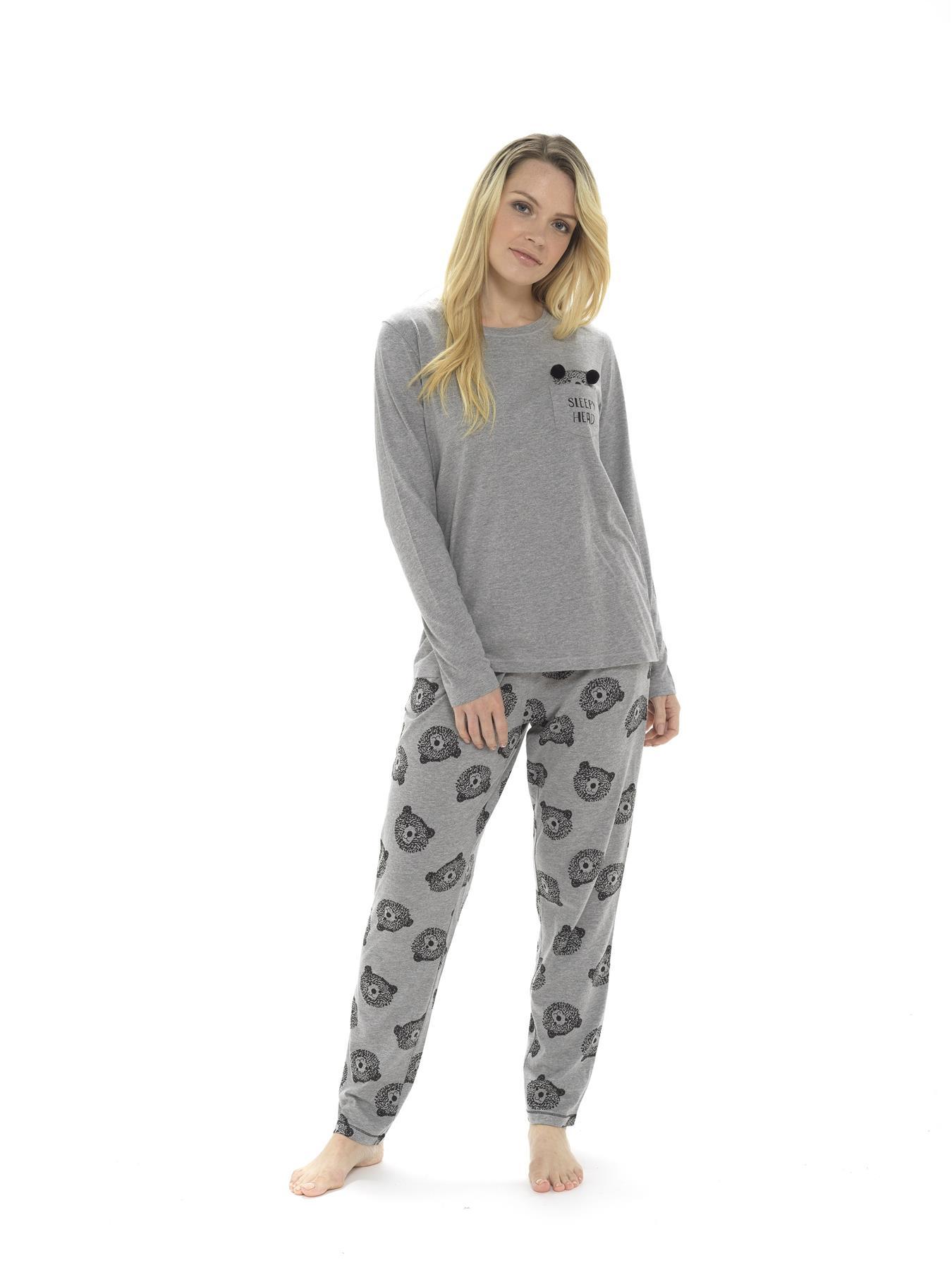 Femmes coton viscose Nouveauté Imprimé Pyjama Llama bear CHAT PANDA FUN Slogans