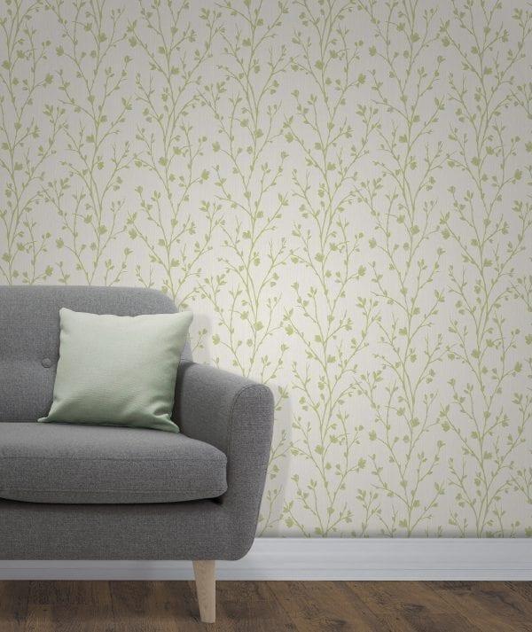 Fine Decor Twiggy Tree Green /& Cream 10m Wallpaper FD42159