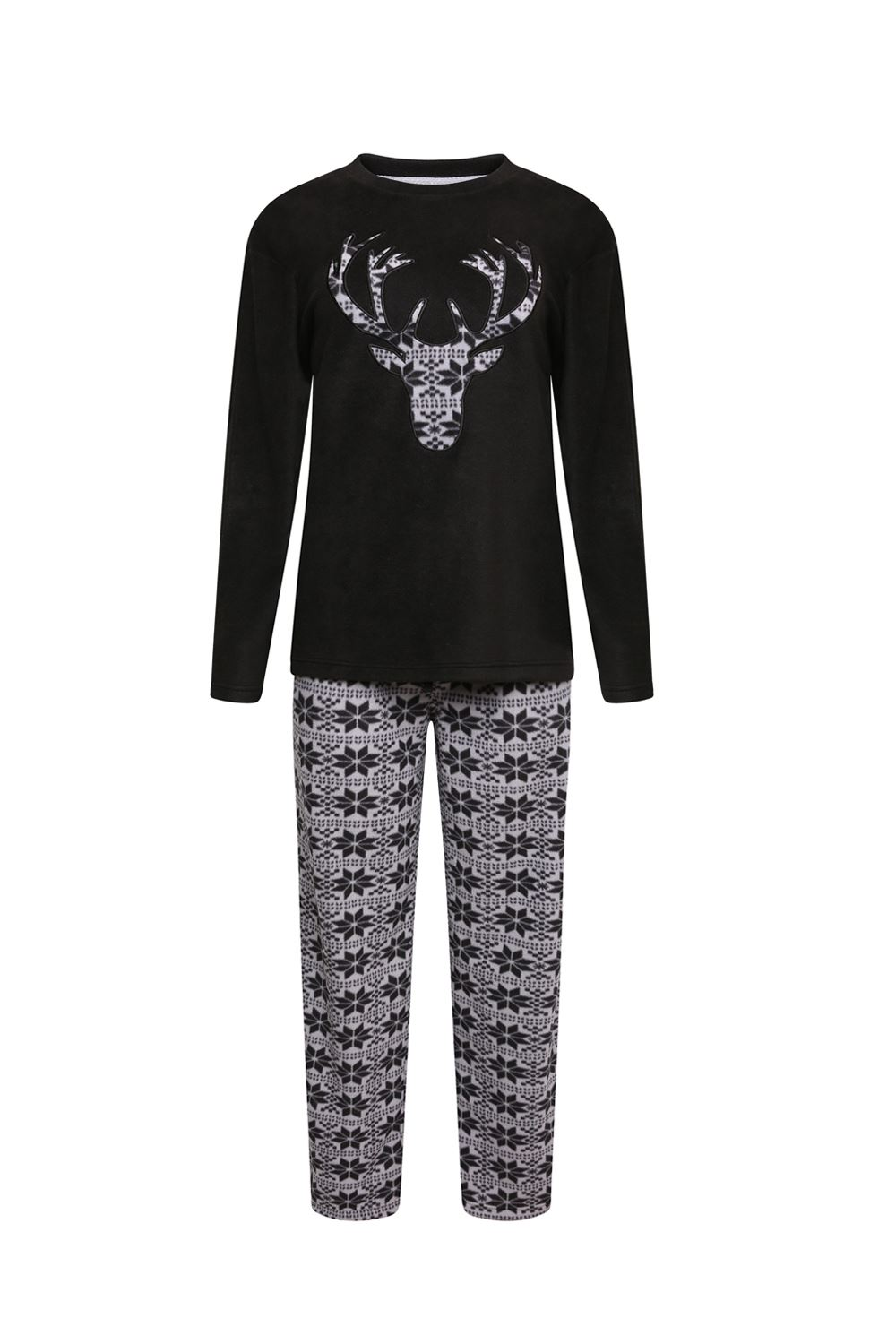 Boys Kids Stag Deer Designer Fairisle Winter Fleece Pyjama Set Warm PJ