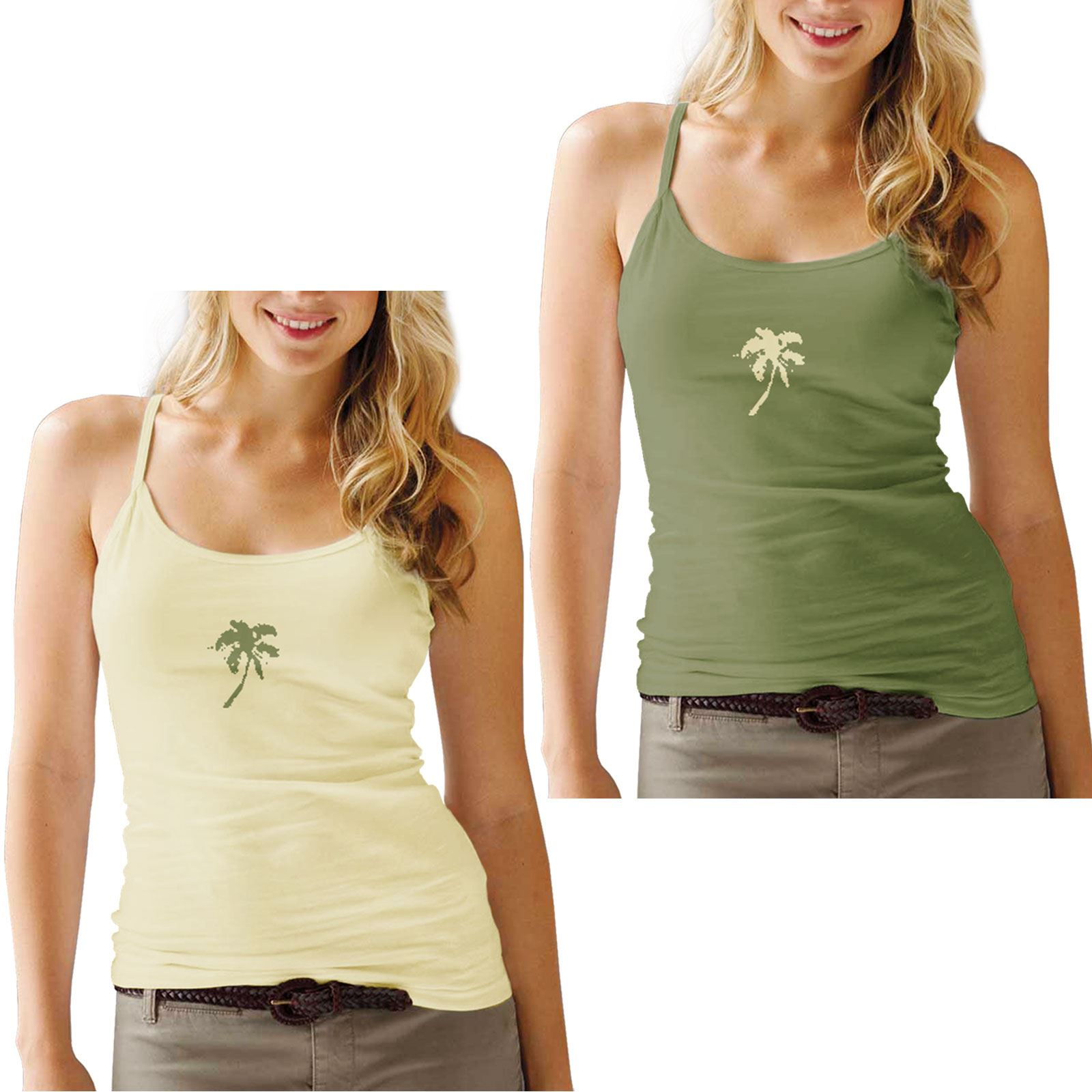 WOMENS TWIN PACK STRAPPY VEST STRETCHY PRINT LADIES CAMI TOP T SHIRT TEE SUMMER