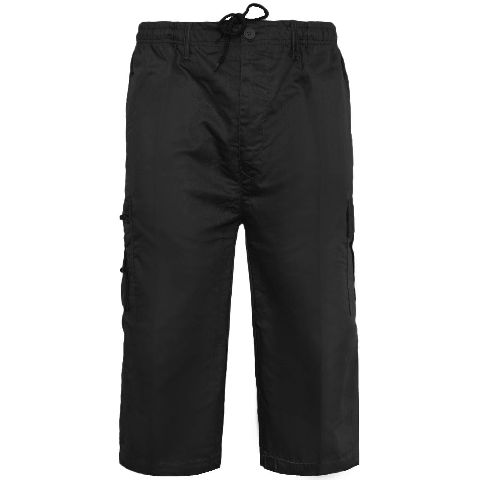 MENS PLAIN ELASTICATED 3//4 SHORTS CARGO COMBAT POCKETS SUMMER BEACH COTTON PANTS