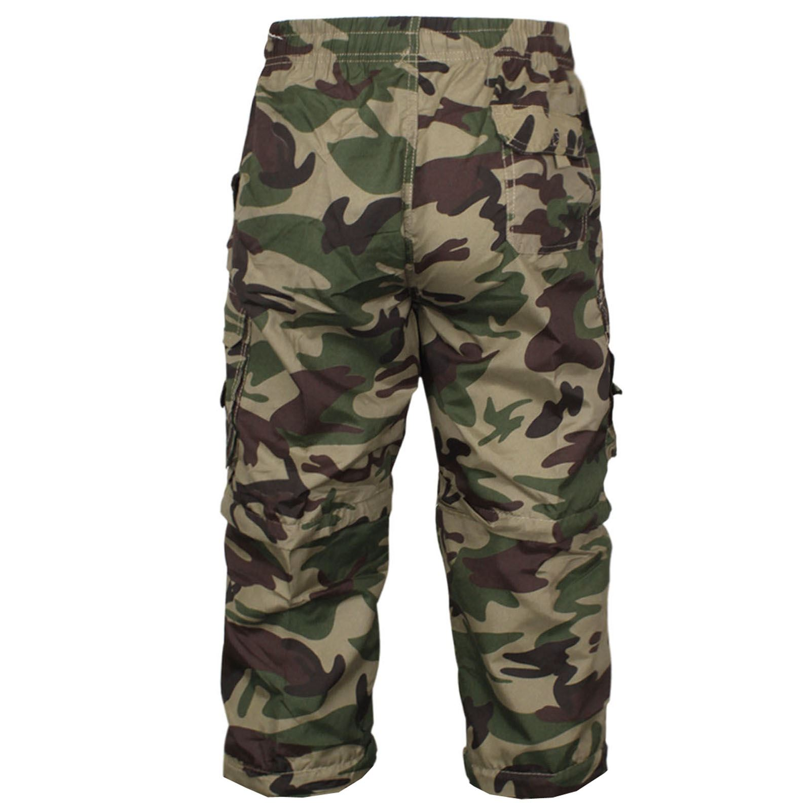 MENS 2 IN 1 CAMOUFLAGE SHORTS ARMY ZIP OFF COMBAT CARGO TROUSERS WORK PANT S-2XL