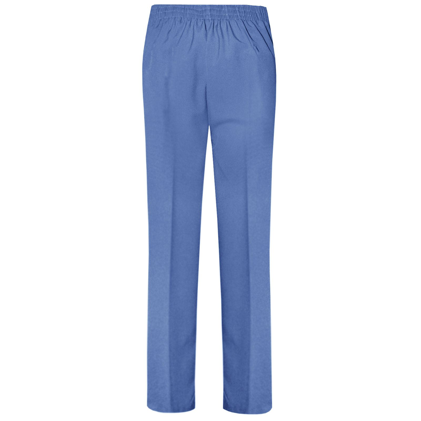 WOMEN LADIES TROUSERS GIRLS CLASSIC PANTS OFFICE SCHOOL UNIFORM ELASTIC BOTTOMS