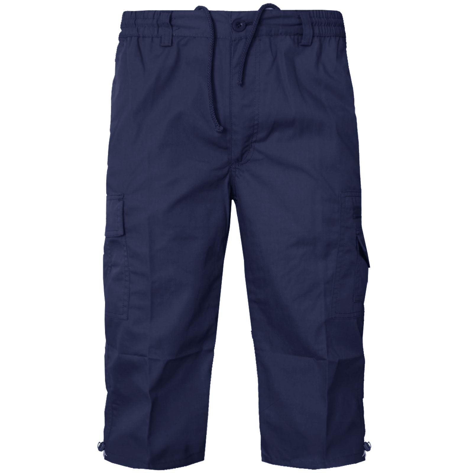 NEW MENS 3//4 SHORTS CARGO COMBAT PLAIN COTTON CASUAL SUMMER BEACH POCKETS PANTS