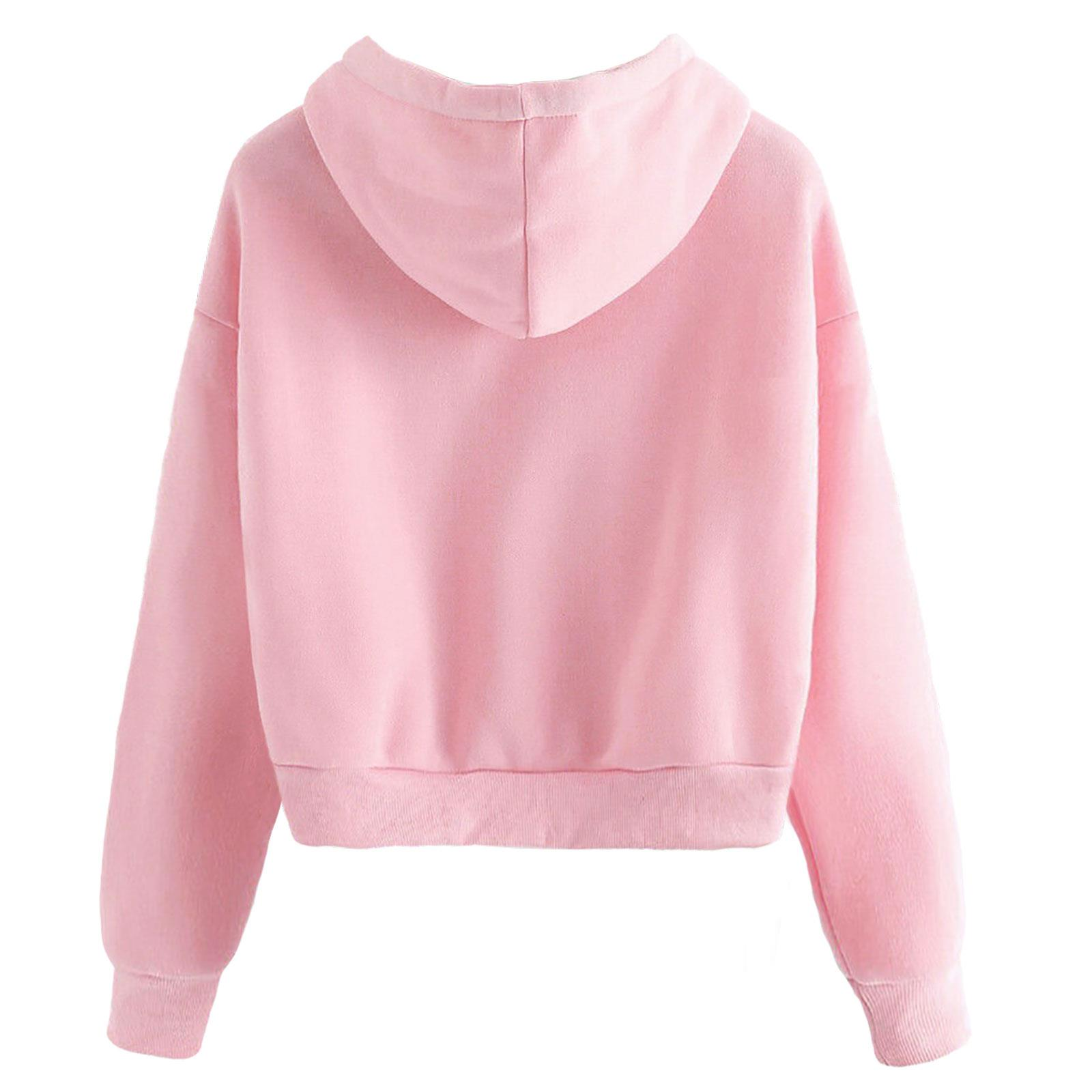 LADIES CROPPED HOODIE BUTTERFLY CASUAL GYM SPORTS WOMENS LONG SLEEVE SWEATSHIRT