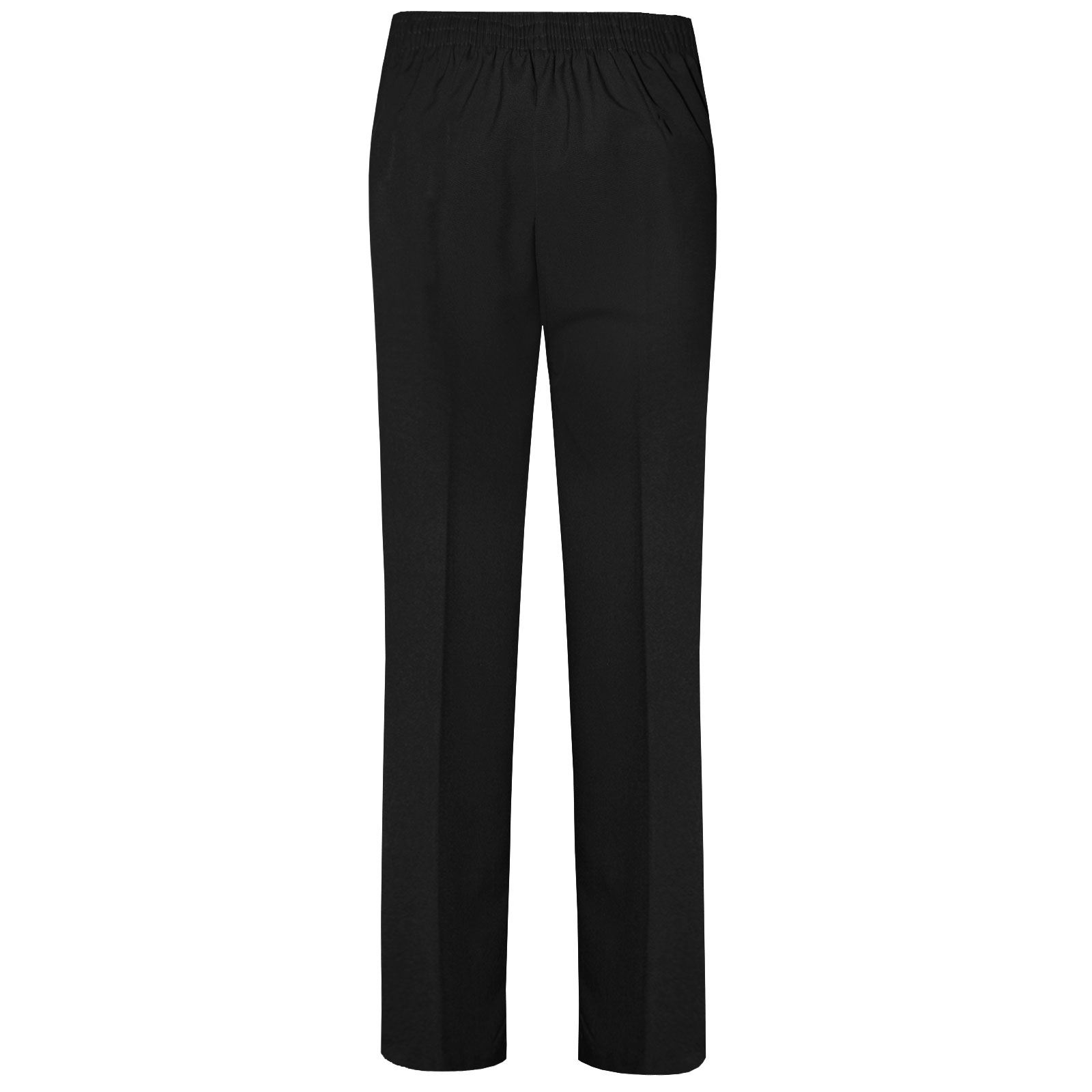 WOMENS LADIES HALF ELASTICATED TROUSERS PANTS GIRLS SCHOOL OFFICE CLASSIC BOTTOM