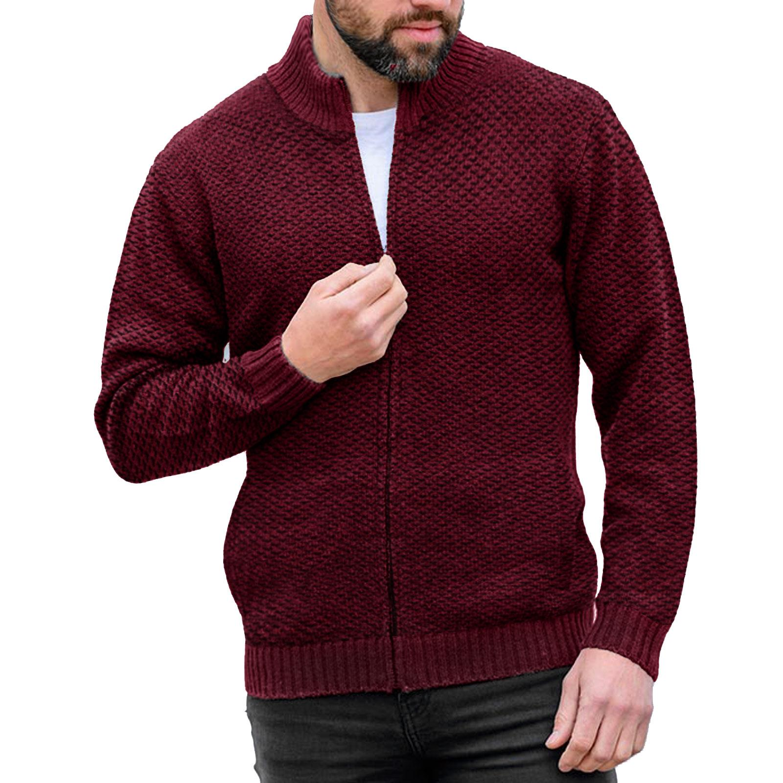 MENS SOFT WOOLLEN KNITTED JUMPER TURTLE FUNNEL NECK ZIP UP CARDIGAN SWEATER TOP