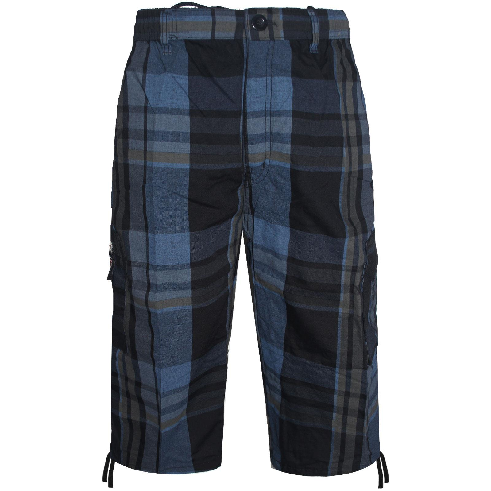 MENS CHECK SHORTS 3//4 LENGTH CASUAL WEAR ELASTICATED WAIST CARGO COMBAT TROUSERS