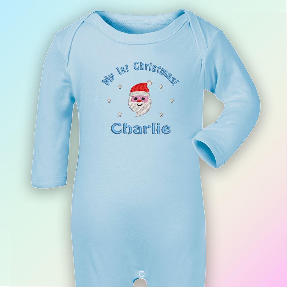 Mon 1st Noël Santa brodé bébé ange Babygrow cadeau personnalisé