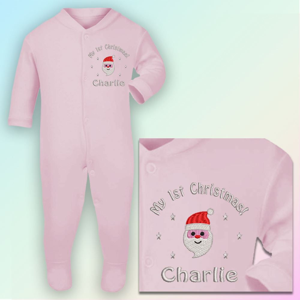 My 1st Christmas Santa Embroidered Baby Sleepsuit Gift Personalised First Xmas