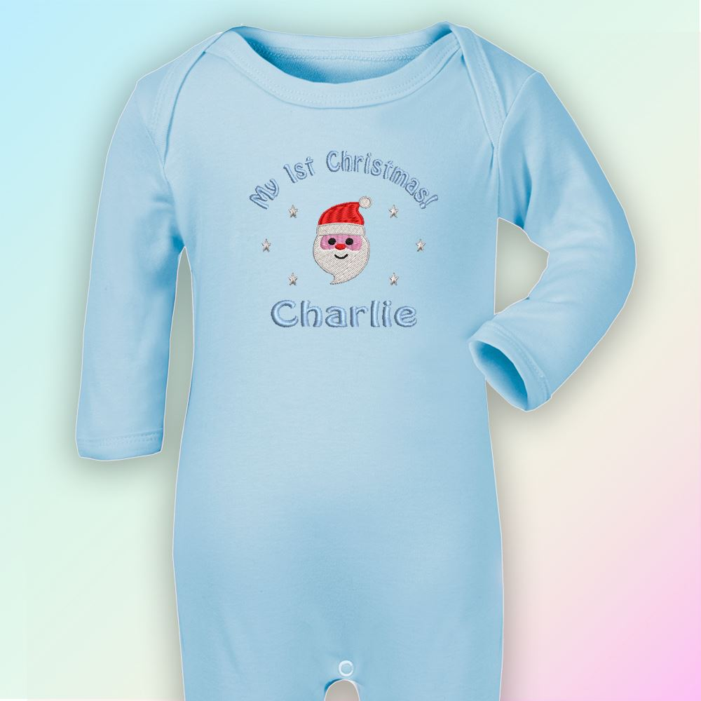 My 1st Christmas Santa Embroidered Baby Romper Babygrow Gift Personalised