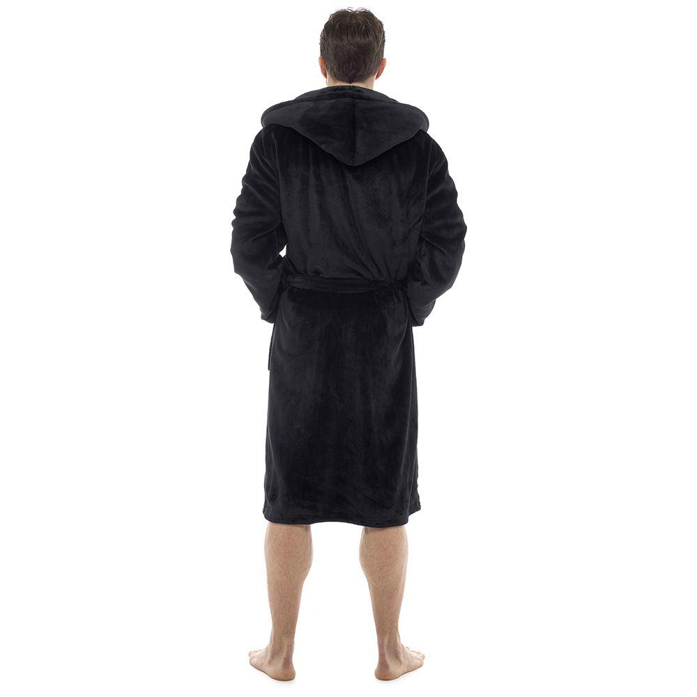 MN43 Men/'s Hooded Thermal Fleece Robe Dressing Gown,Winter Gift For Him