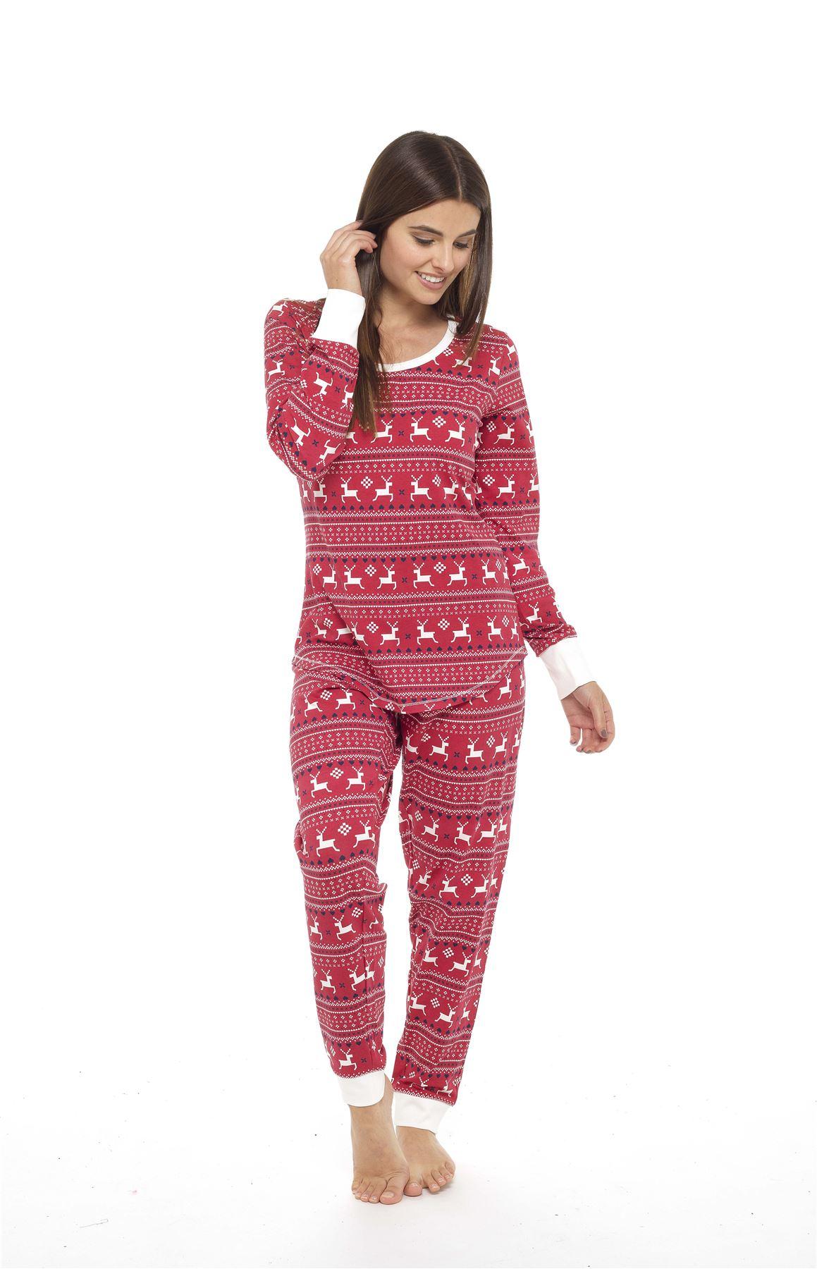 Cotton Pyjama Set Red Grey Ladies Jersey Fair Isle Reindeer Pyjamas Twosie