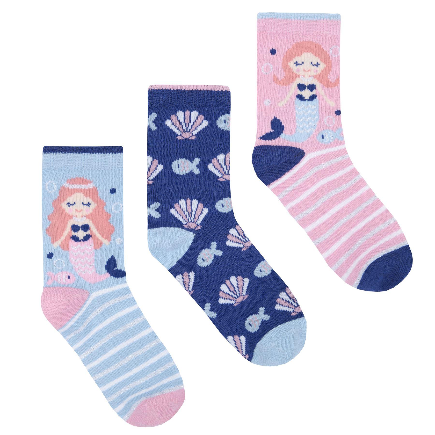 Kids Cotton Unicorn Mermaid Pug Socks Pack Of 6 Girls Design Socks