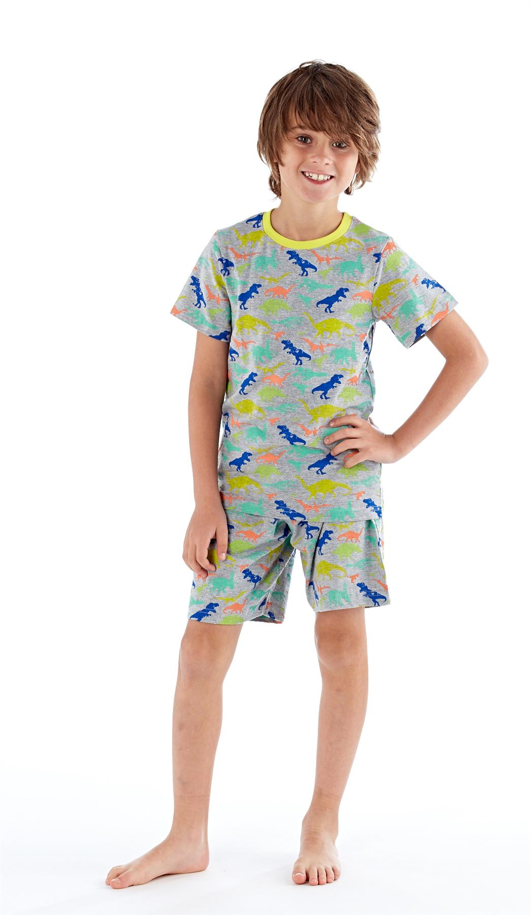 Summer Cotton PJs Pyjama Set Boys Dinosaur /& Shark Pyjamas