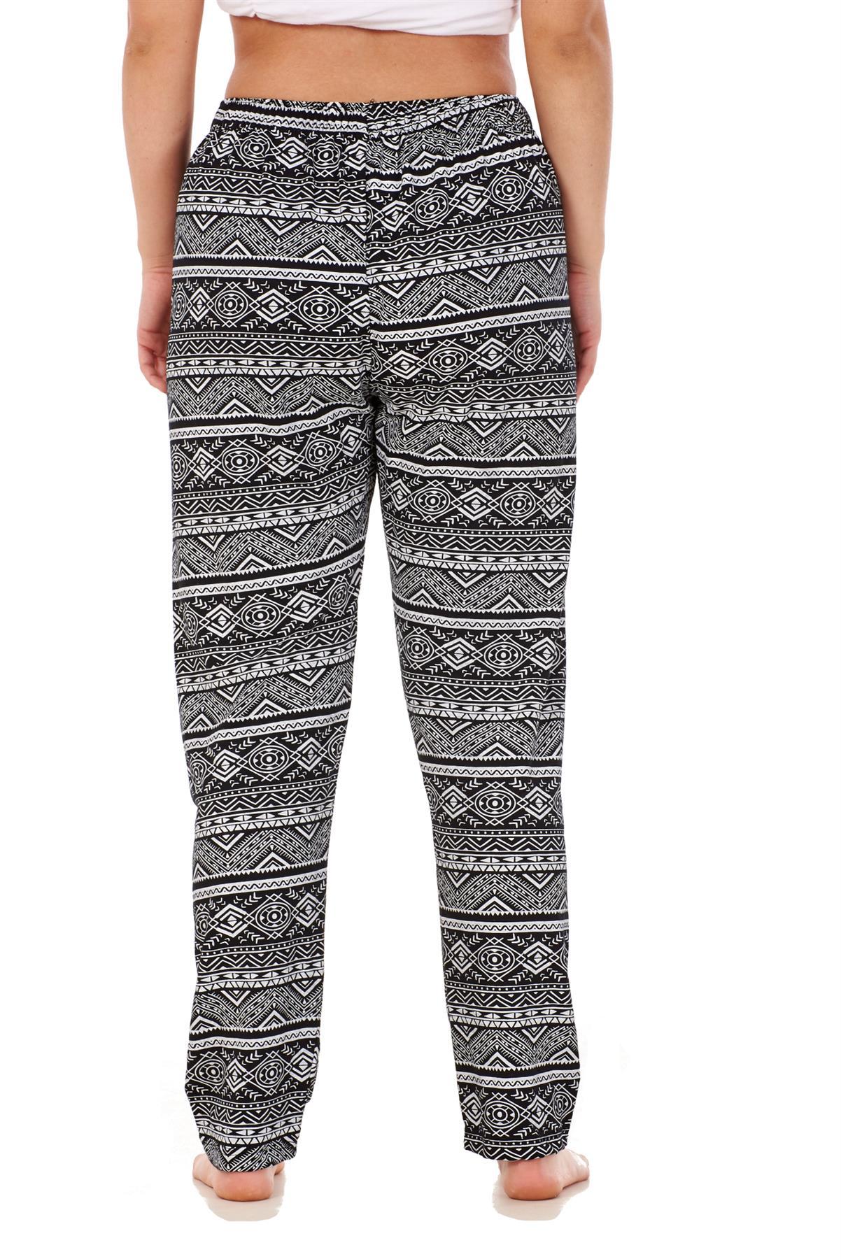 Signore Donne Pantaloni con elastico stampato Affusolato Harem Vita Alta Pantaloni regolare
