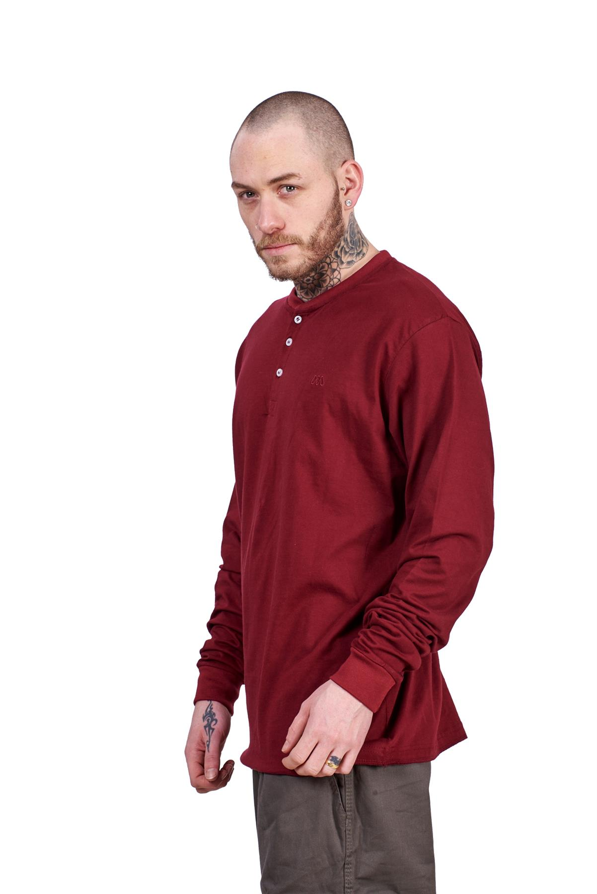 Mens Casual Shirts 100/% Jersey Cotton Henley long Sleeve ribbed cuff Tops M XXL