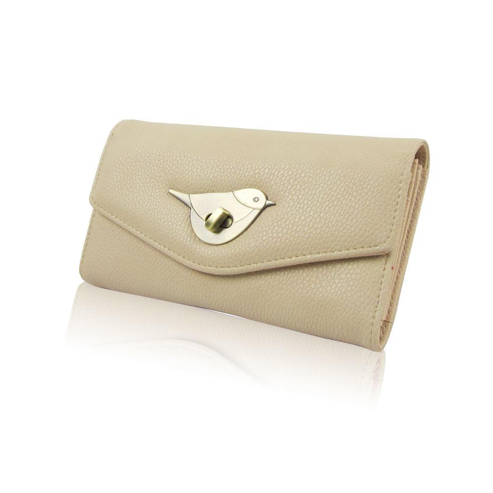 Femmes Créateur Style Sac à Main Fermoir Fermer Porte-Monnaie Filles PU Coin Holder Bird Design
