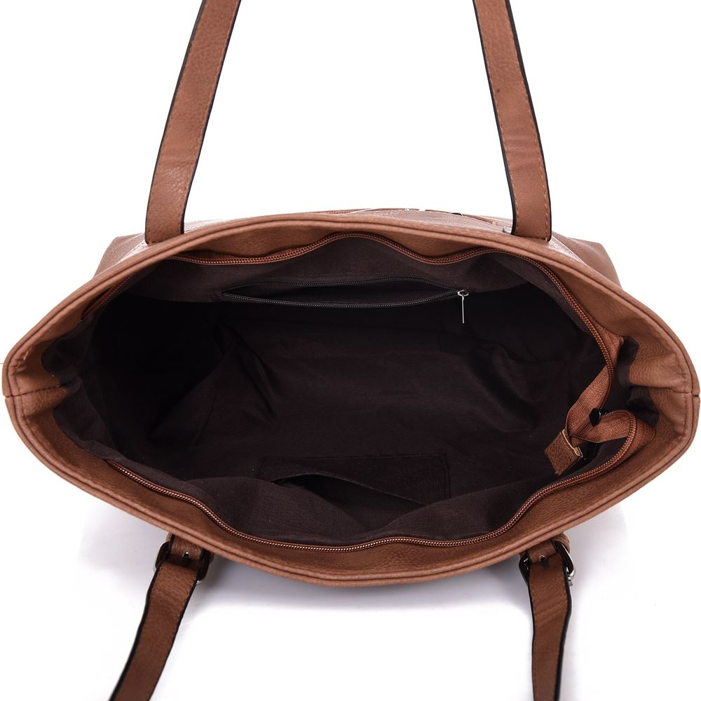 New Women/'s Large Designer Style PU Leather Tote Shopper Hand Bag