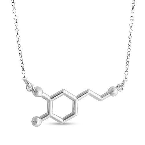 Details about  /Azaggi 925 Sterling Silver Necklace Dopamine Molecule Pleasure Hormone Pendant