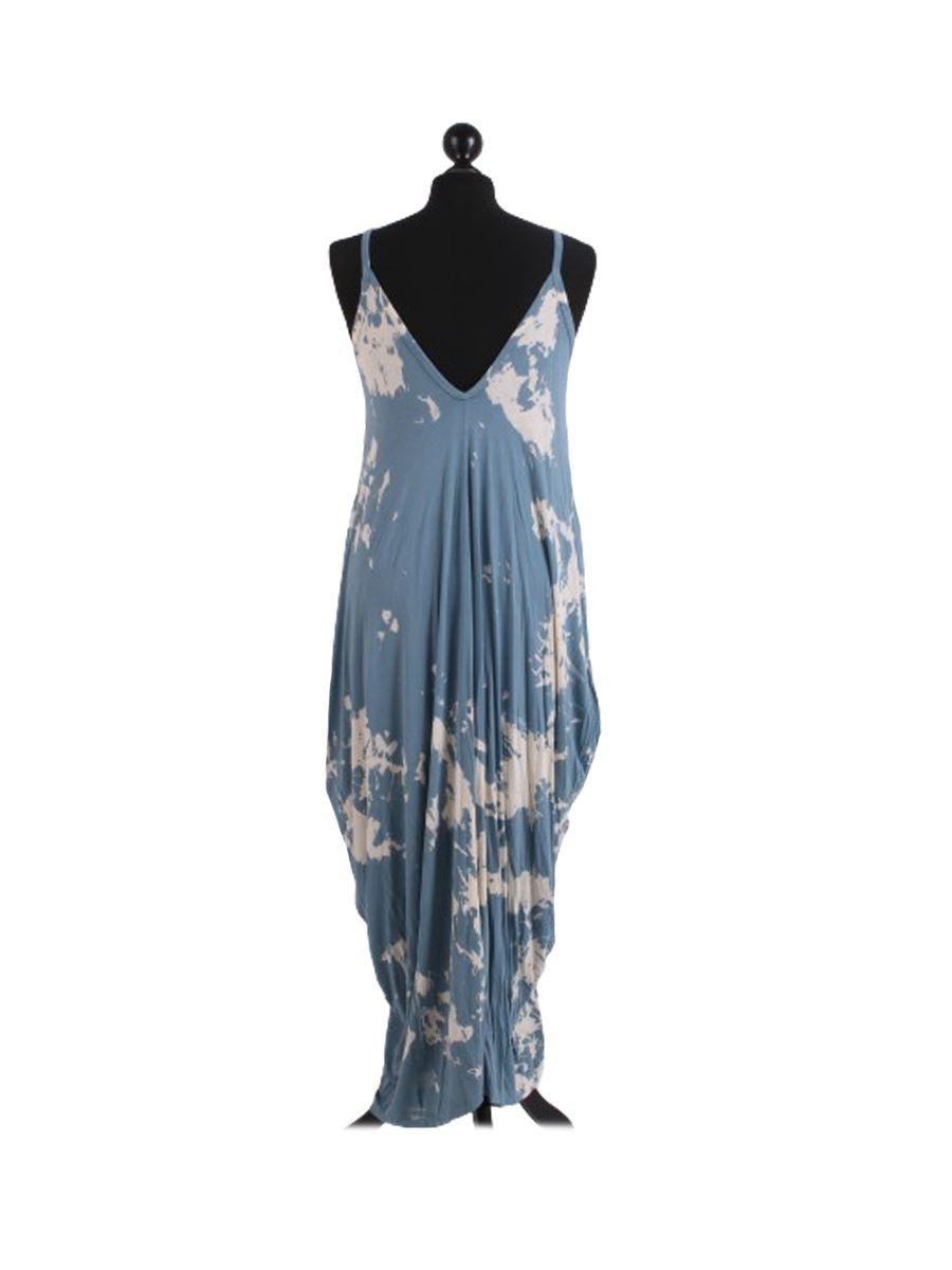 Womens Italian Tie Dye Print Classy Pointy Sides Sphagetti Cami Long Maxi Dress