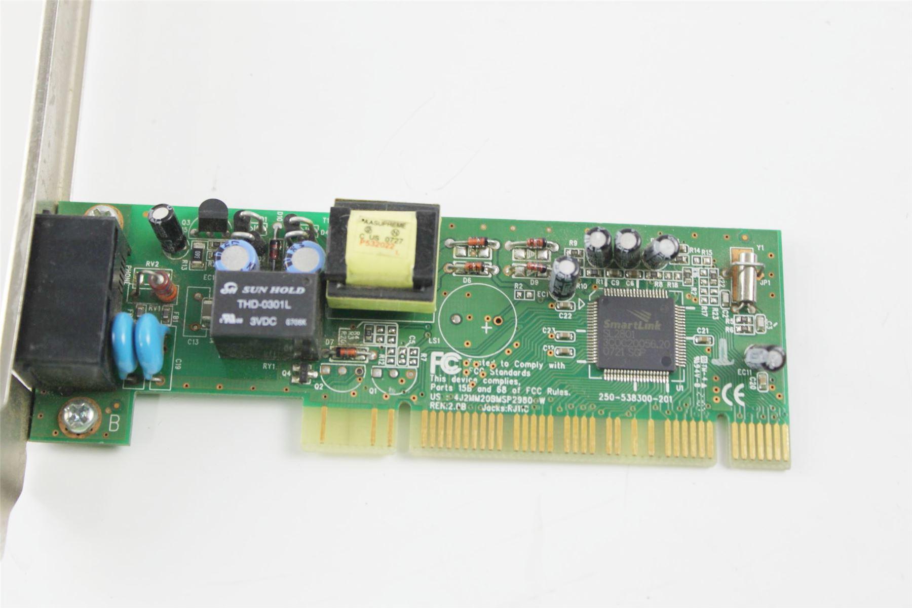 10-100 LAN High Profile Dual Port PCI Network 56K Modem Card 250-538300-201