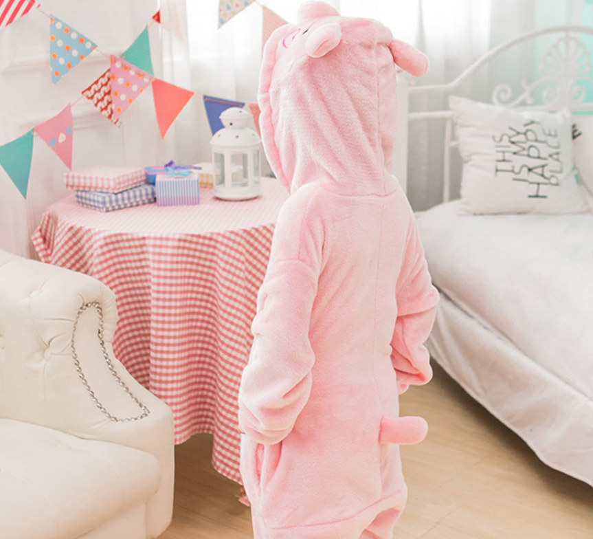 Kids All in one Hooded Jumpsuit Nightwear PJS Nativity Dinosaur Unicorn Pig