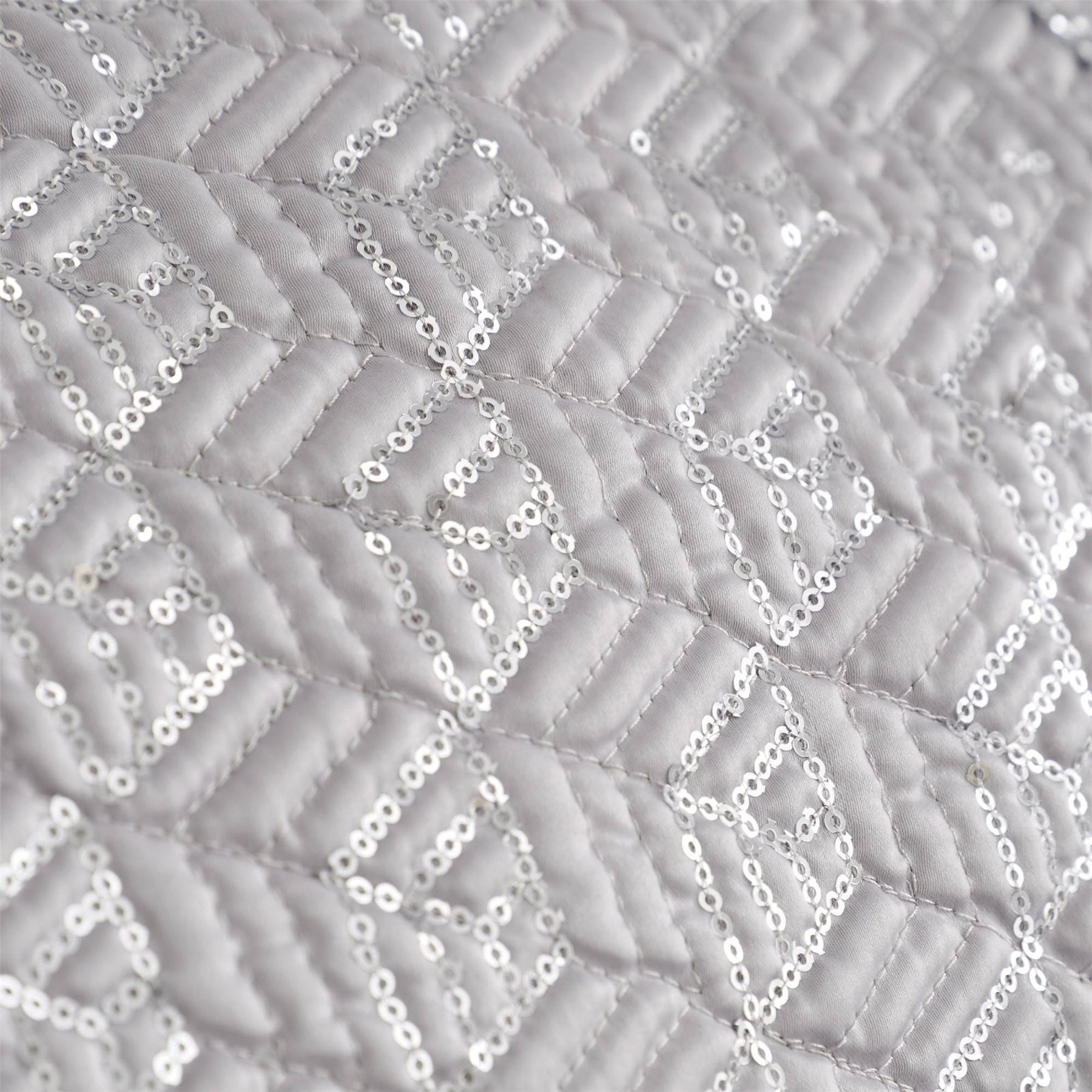 HLC Sequin Diamante Trim Luxury Duvet Cover Bedding Set Cushions Quilted Runner