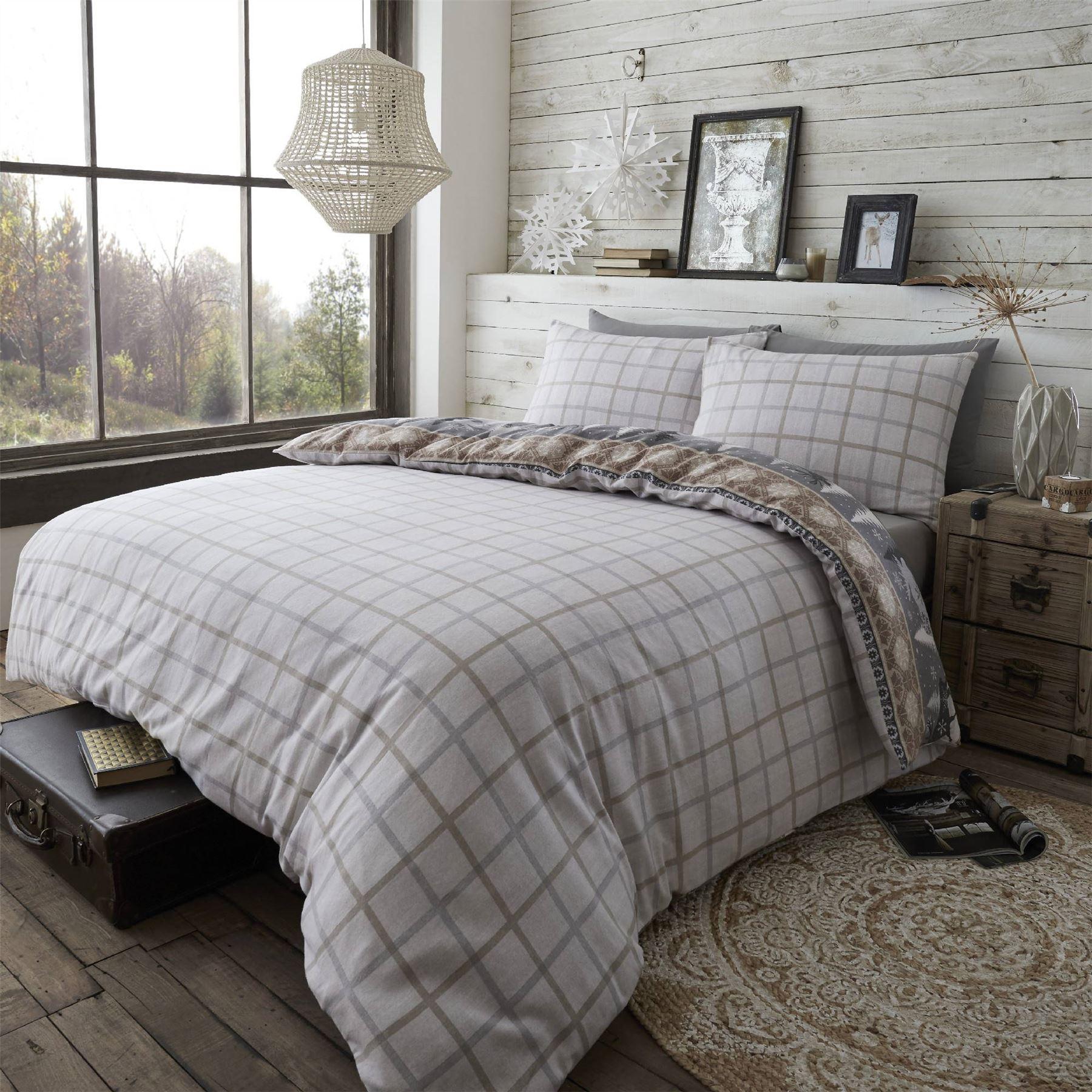 HLC 100/% Brushed Cotton Nordic Scandi Hygge Warm Reversible Duvet Cover Set