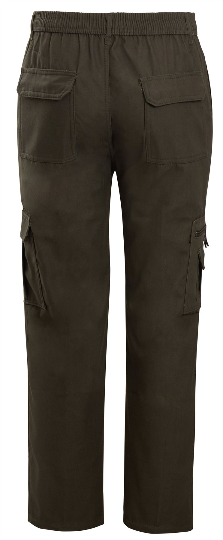 Shelikes Mens Lined Thermal Bottoms Elasticated Cargo Combat Multi Pocket Pants