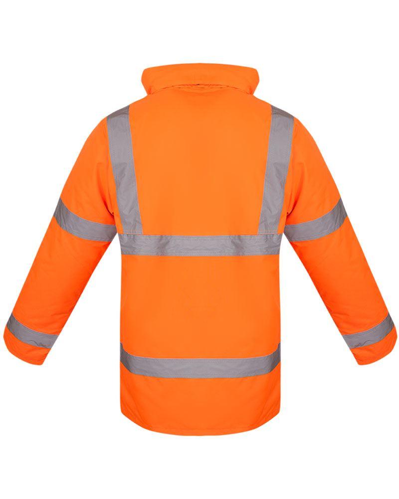 Hi Vis Viz Parka Workwear Security Safety Fluorescent Padded Waterproof Jacket