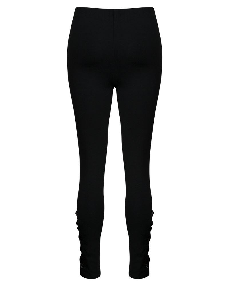 Mujer señoras con ojales de encaje tie up Pantalón Negro Calzas Elastizadas
