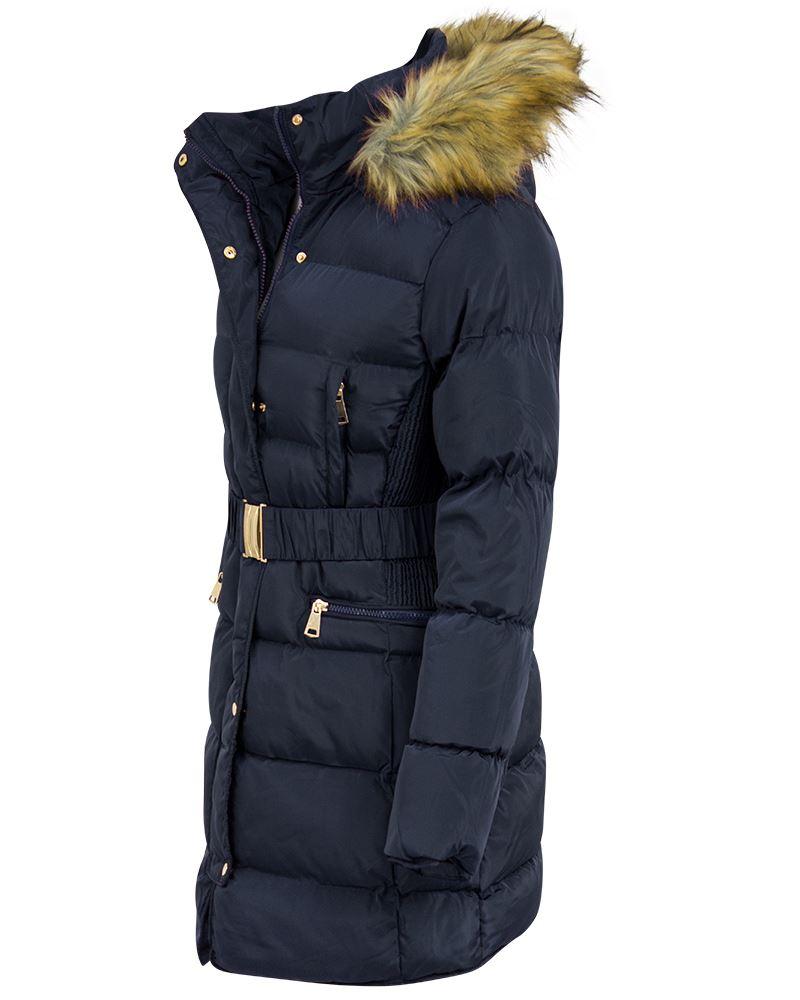NUOVA linea donna giacca cappotto parka pelliccia cappuccio Lato Increspato Lungo cappotto di moda in poliestere
