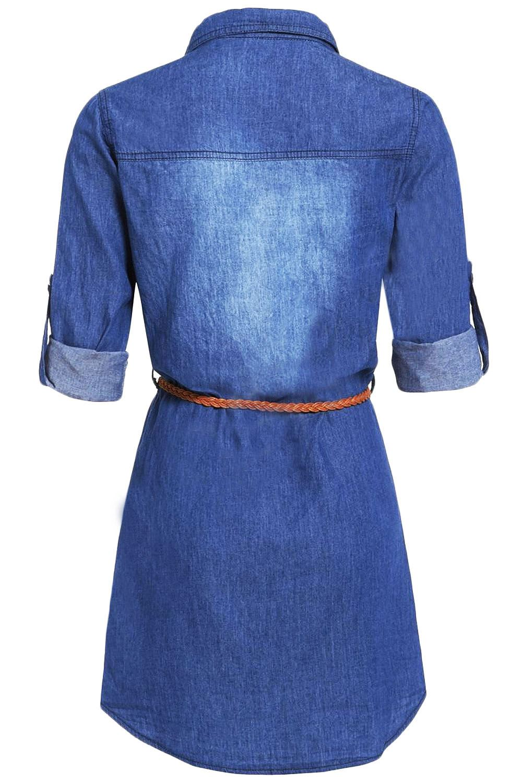 Womens Ladies DENIM BLUE Belt Vintage Long Sleeve Shirt Dress UK