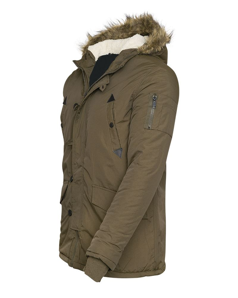 New Mens Quilted Fashion Jacket Fur Hood Winter Pockets Padded Military Coat Top