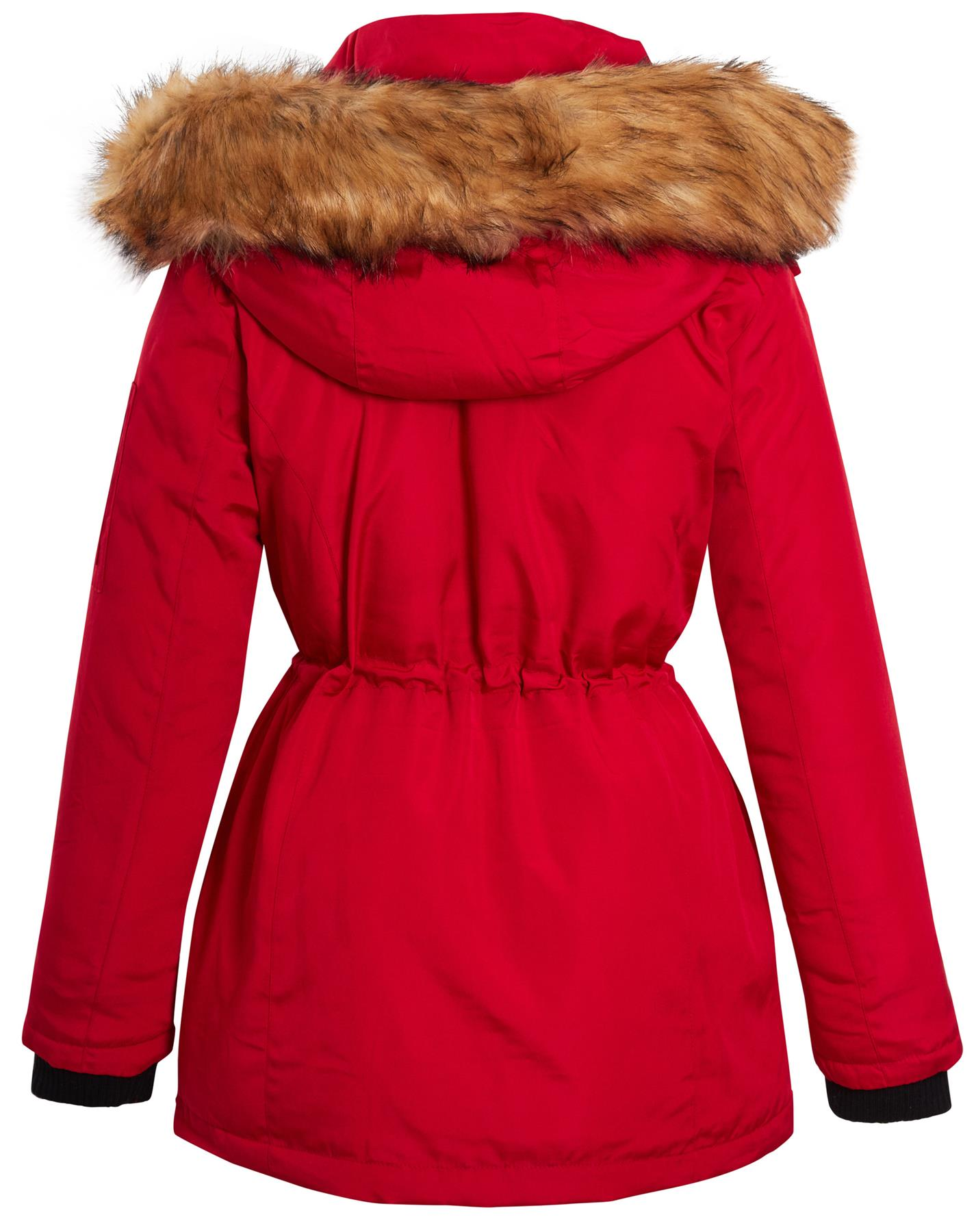 Ladies Ski Longline Jacket Padded Parka Faux Fur Hood Hooded Coat Size