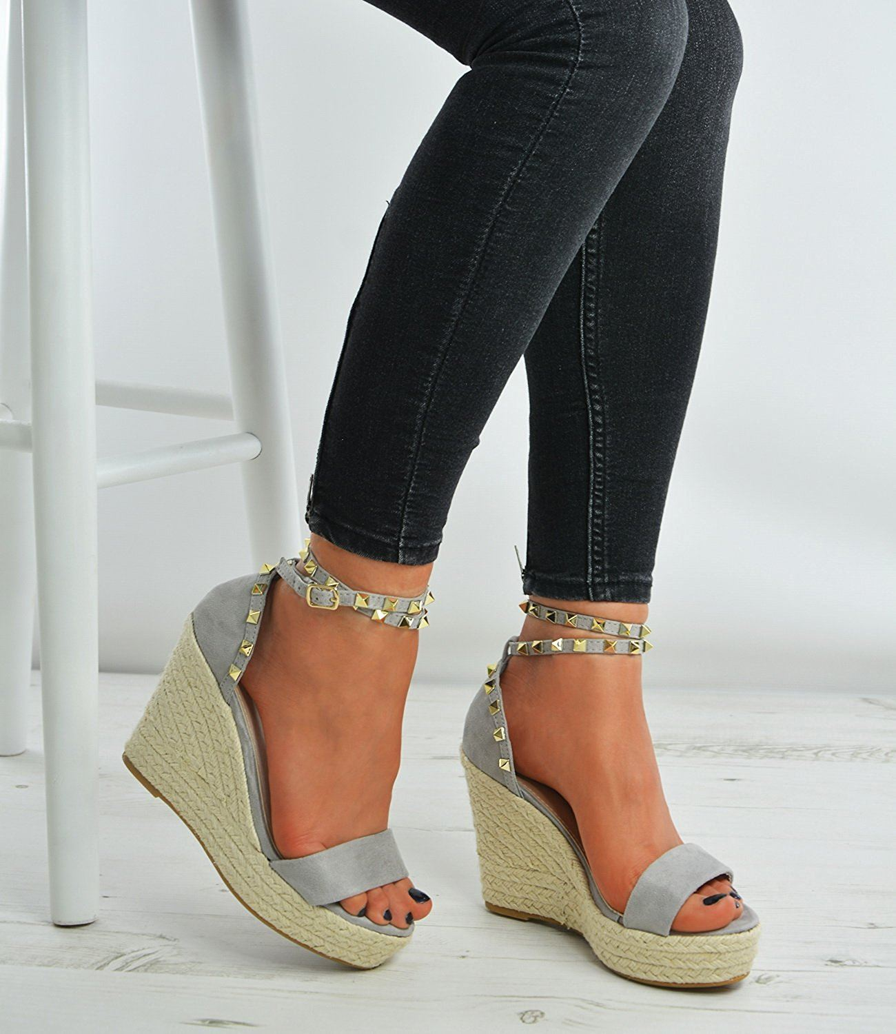 New Womens Suede Effect Studded Ankle Strap Wedge Espadrille Heels Shoes
