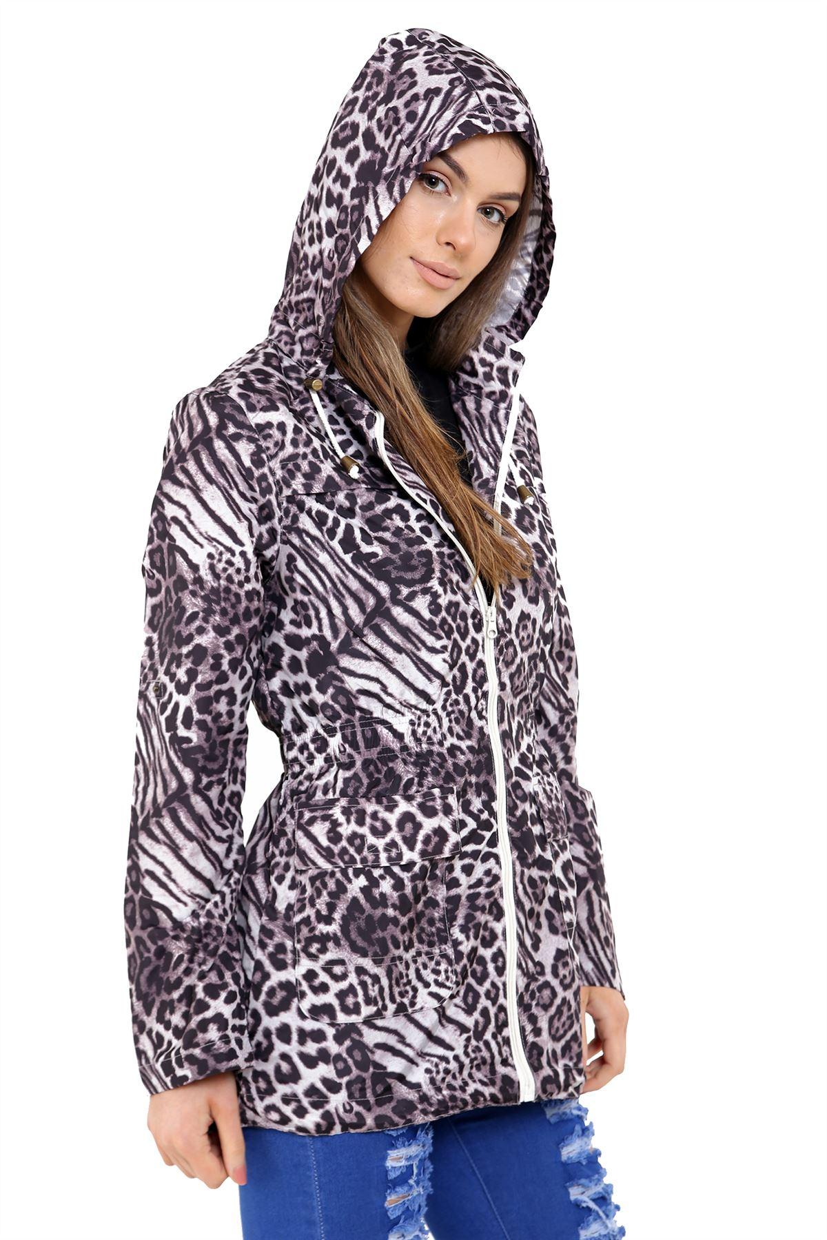 New Womens Animal Print Fishtail Parka Showerproof Lightweight Rain Jacket