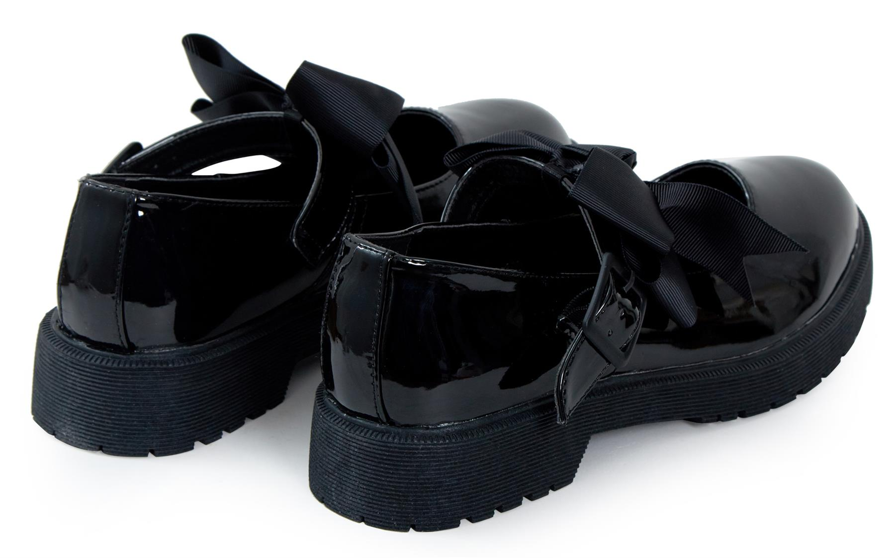 Girls Back To School Bow Black Patent Shiny Ankle Strap Mary Jane Shoes